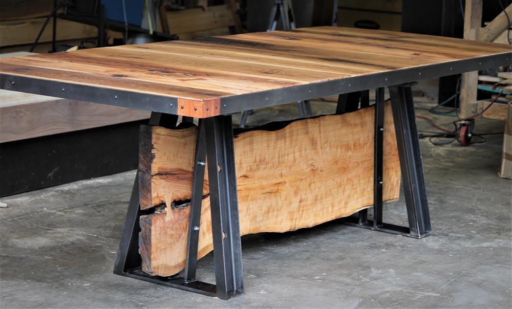 custom wood and metal table