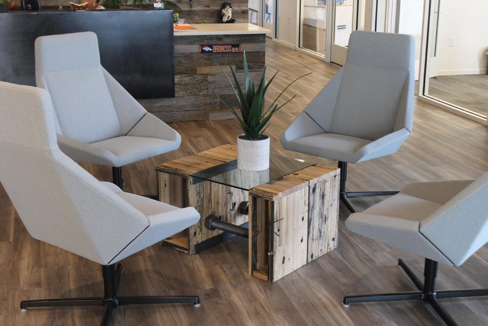 unison lobby table fabricated by twenty1five colorado
