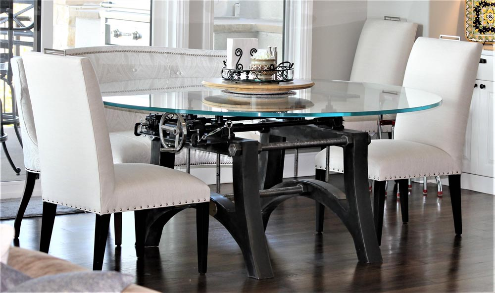 industrial crank bottom dining table