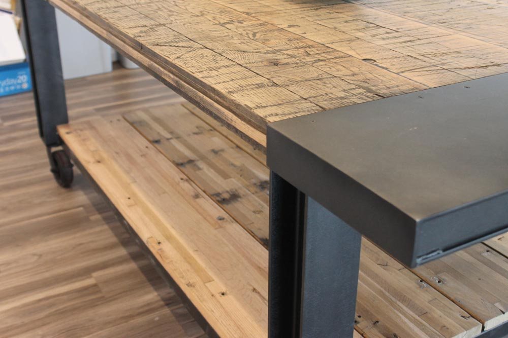 detail of kitchen table wood and metal